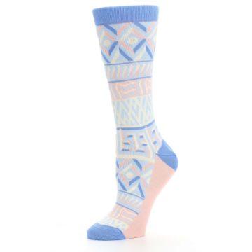 Image of Blue Light Coral Tribal Pattern Women's Dress Socks (side-2-10)