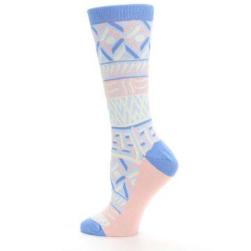 Image of Blue Light Coral Tribal Pattern Women's Dress Socks (side-2-13)