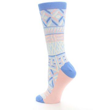 Image of Blue Light Coral Tribal Pattern Women's Dress Socks (side-2-back-14)