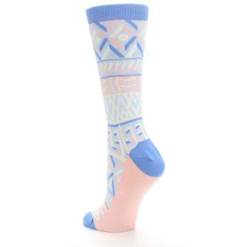 Image of Blue Light Coral Tribal Pattern Women's Dress Socks (side-2-back-15)