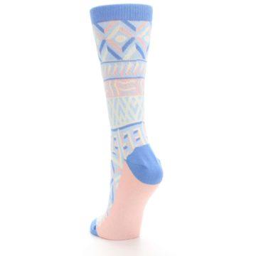 Image of Blue Light Coral Tribal Pattern Women's Dress Socks (side-2-back-16)