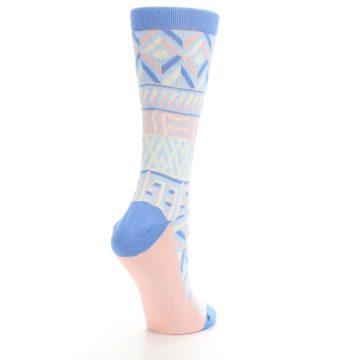 Image of Blue Light Coral Tribal Pattern Women's Dress Socks (side-1-back-22)