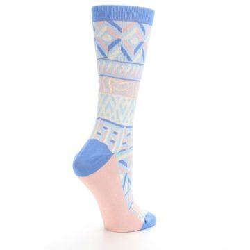 Image of Blue Light Coral Tribal Pattern Women's Dress Socks (side-1-23)