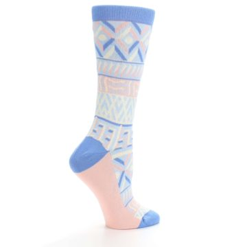 Image of Blue Light Coral Tribal Pattern Women's Dress Socks (side-1-24)