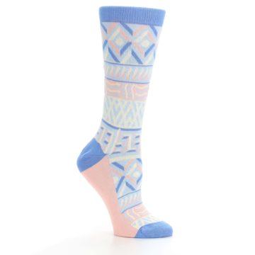 Image of Blue Light Coral Tribal Pattern Women's Dress Socks (side-1-26)
