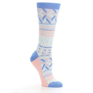 Image of Blue Light Coral Tribal Pattern Women's Dress Socks (side-1-27)