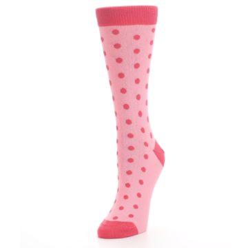 Image of Flamingo Guava Polka Dot Women's Dress Socks (side-2-front-08)