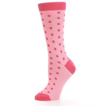 Image of Flamingo Guava Polka Dot Women's Dress Socks (side-2-11)