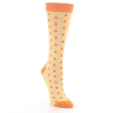 Image of Light Orange Polka Dot Women's Dress Socks (side-1-front-02)