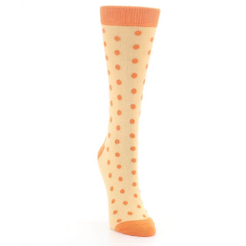 Image of Light Orange Polka Dot Women's Dress Socks (side-1-front-03)