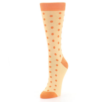Image of Light Orange Polka Dot Women's Dress Socks (side-2-front-08)