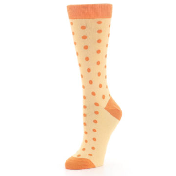 Image of Light Orange Polka Dot Women's Dress Socks (side-2-09)