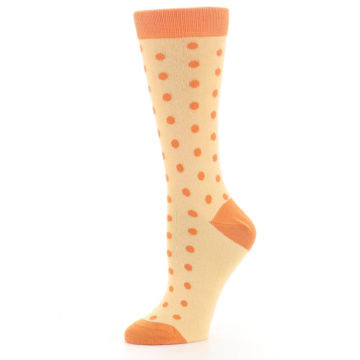 Image of Light Orange Polka Dot Women's Dress Socks (side-2-10)