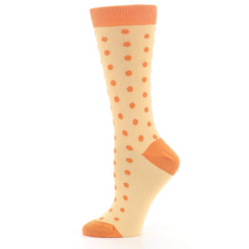 Image of Light Orange Polka Dot Women's Dress Socks (side-2-11)