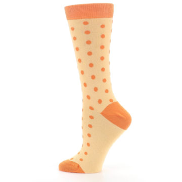 Image of Light Orange Polka Dot Women's Dress Socks (side-2-12)