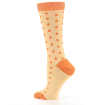 Image of Light Orange Polka Dot Women's Dress Socks (side-2-13)