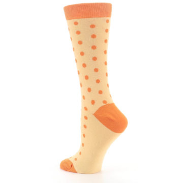 Image of Light Orange Polka Dot Women's Dress Socks (side-2-back-14)