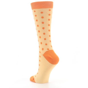 Image of Light Orange Polka Dot Women's Dress Socks (side-2-back-15)