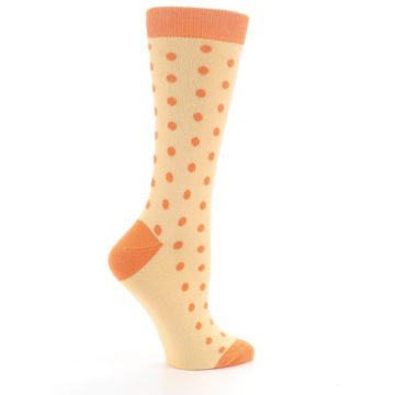 Image of Light Orange Polka Dot Women's Dress Socks (side-1-24)