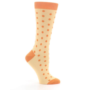 Image of Light Orange Polka Dot Women's Dress Socks (side-1-25)