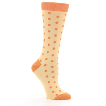 Image of Light Orange Polka Dot Women's Dress Socks (side-1-26)