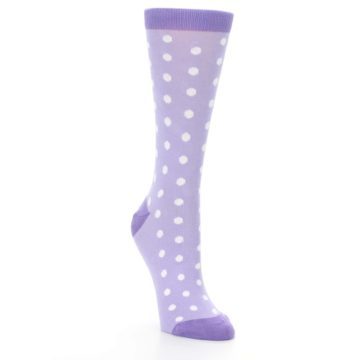 Image of Lilac Iris Purple Polka Dot Women's Dress Socks (side-1-front-02)