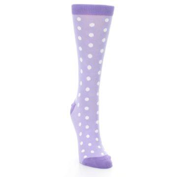 Image of Lilac Iris Purple Polka Dot Women's Dress Socks (side-1-front-03)