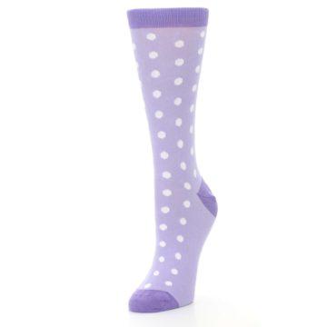Image of Lilac Iris Purple Polka Dot Women's Dress Socks (side-2-front-08)