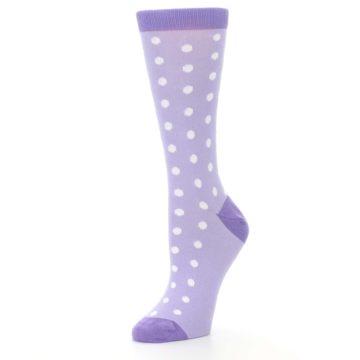 Image of Lilac Iris Purple Polka Dot Women's Dress Socks (side-2-09)