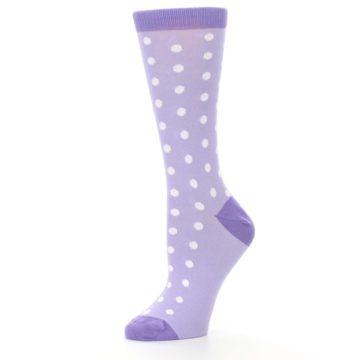 Image of Lilac Iris Purple Polka Dot Women's Dress Socks (side-2-10)