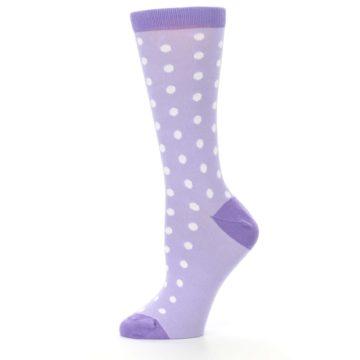 Image of Lilac Iris Purple Polka Dot Women's Dress Socks (side-2-11)