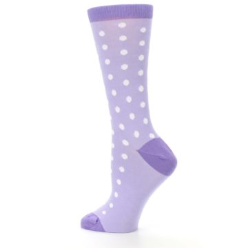 Image of Lilac Iris Purple Polka Dot Women's Dress Socks (side-2-13)