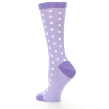 Image of Lilac Iris Purple Polka Dot Women's Dress Socks (side-2-back-14)