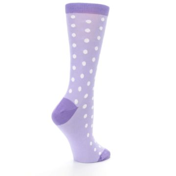 Image of Lilac Iris Purple Polka Dot Women's Dress Socks (side-1-23)
