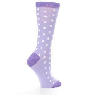 Image of Lilac Iris Purple Polka Dot Women's Dress Socks (side-1-24)