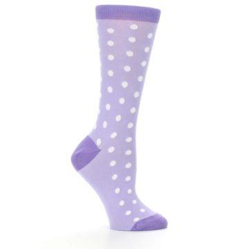Image of Lilac Iris Purple Polka Dot Women's Dress Socks (side-1-25)