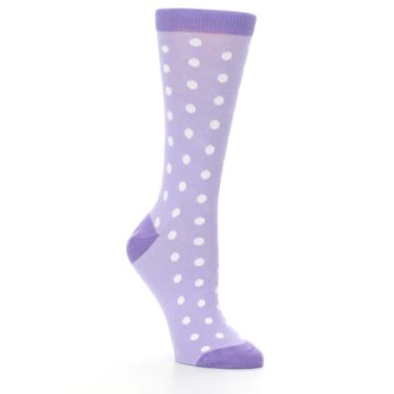 Image of Lilac Iris Purple Polka Dot Women's Dress Socks (side-1-27)