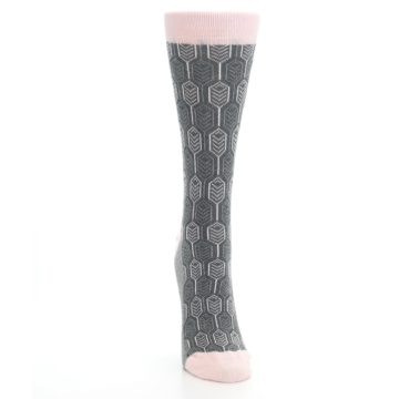Image of Pink Gray Feather Optics Women's Dress Socks (front-04)