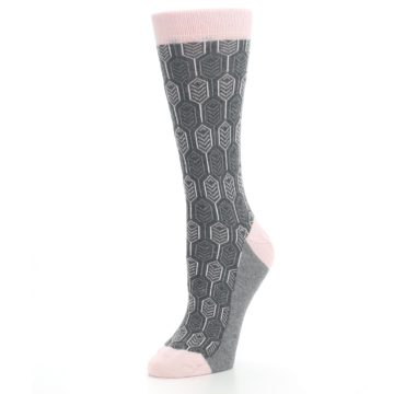 Image of Pink Gray Feather Optics Women's Dress Socks (side-2-09)