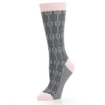 Image of Pink Gray Feather Optics Women's Dress Socks (side-2-10)