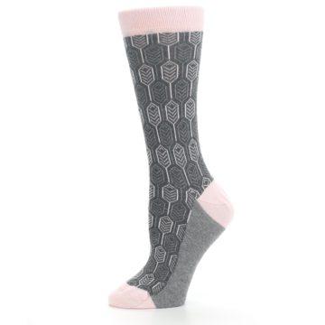 Image of Pink Gray Feather Optics Women's Dress Socks (side-2-11)