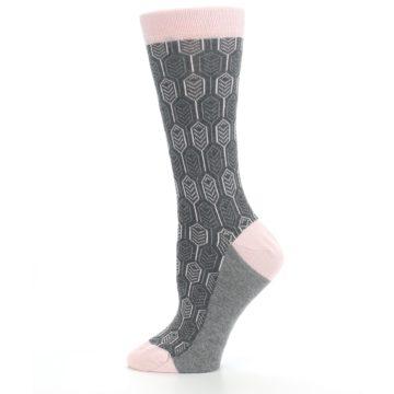 Image of Pink Gray Feather Optics Women's Dress Socks (side-2-12)