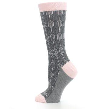 Image of Pink Gray Feather Optics Women's Dress Socks (side-2-13)