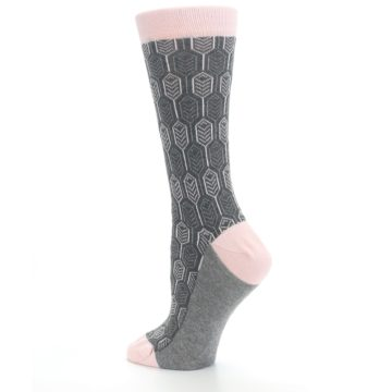 Image of Pink Gray Feather Optics Women's Dress Socks (side-2-back-14)