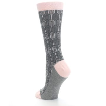 Image of Pink Gray Feather Optics Women's Dress Socks (side-2-back-15)
