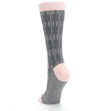 Image of Pink Gray Feather Optics Women's Dress Socks (side-2-back-16)