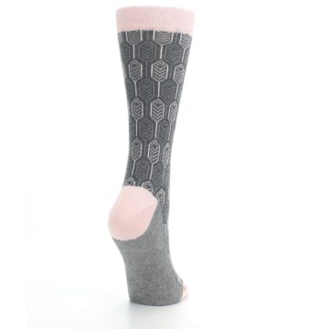 Image of Pink Gray Feather Optics Women's Dress Socks (side-1-back-21)