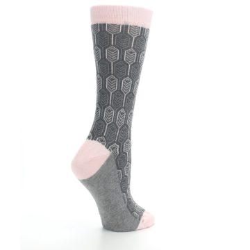 Image of Pink Gray Feather Optics Women's Dress Socks (side-1-23)