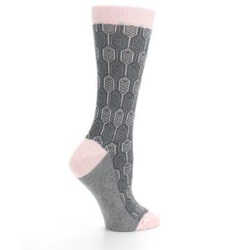 Image of Pink Gray Feather Optics Women's Dress Socks (side-1-24)