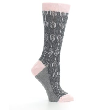 Image of Pink Gray Feather Optics Women's Dress Socks (side-1-25)